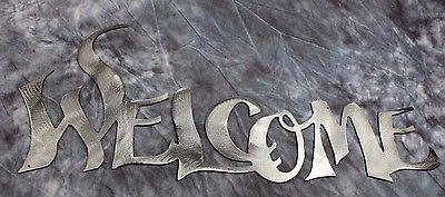 "Metal Wall Art Words...Welcome   Style 2 18"" wide Silver"