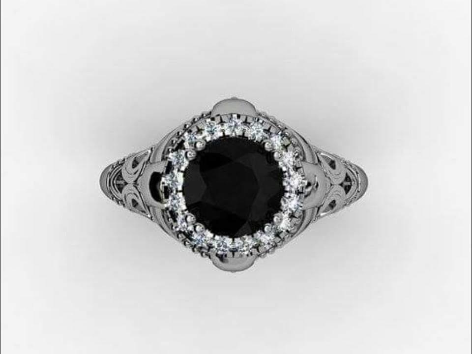 Skull Engagement Ring 14 KT Black Diamond Temple of the Ancient Dragon Diamond