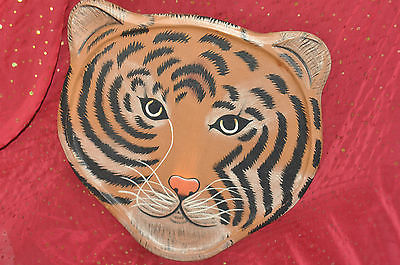 TIGER FACE WOODEN WALL HOME DECOR Contemporary, Multi-Color and Nature Wood and