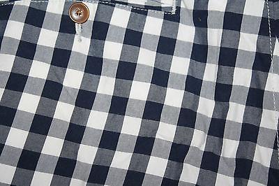 J.Crew Blue White Checkered Men's Flat Front Walking Shorts Sz 35 Chino Cotton