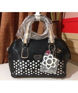 NWT GUESS BIANCO NERO LASER-CUT FRAME SATCHEL BLACK - $118.00