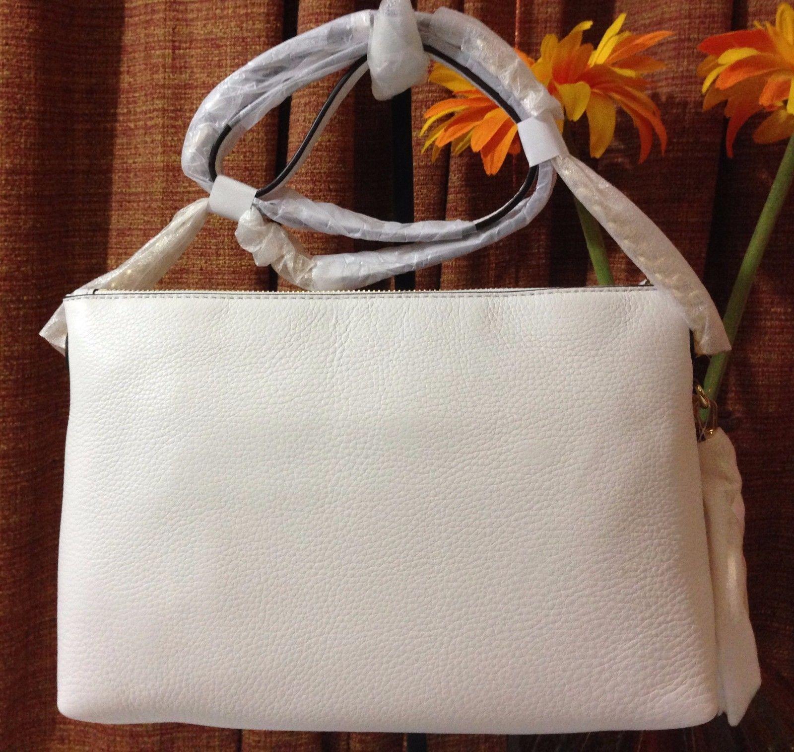 NWT Michael Kors JetSet Chain TopZip Messenger/Crossbody Bag Leather Optic White