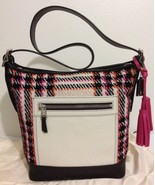 NWT COACH COLORBLOCK PLAID DUFFLE SHOULDER BAG FUCHSIA/MULTICOLOR F21146... - $269.69