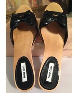 New Miu Miu Calzature Donna Vernice 1 Nero US 7½ - 8 Bow Wooden Sandal M... - $295.00