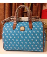 NWT Dooney & Bourke Gretta Olivia Satchel Turquoise/White/Tan Trim - $199.99