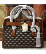 NWT Michael Kors Hamilton Studded East West MK Signature PVC Satchel MSR... - $322.05