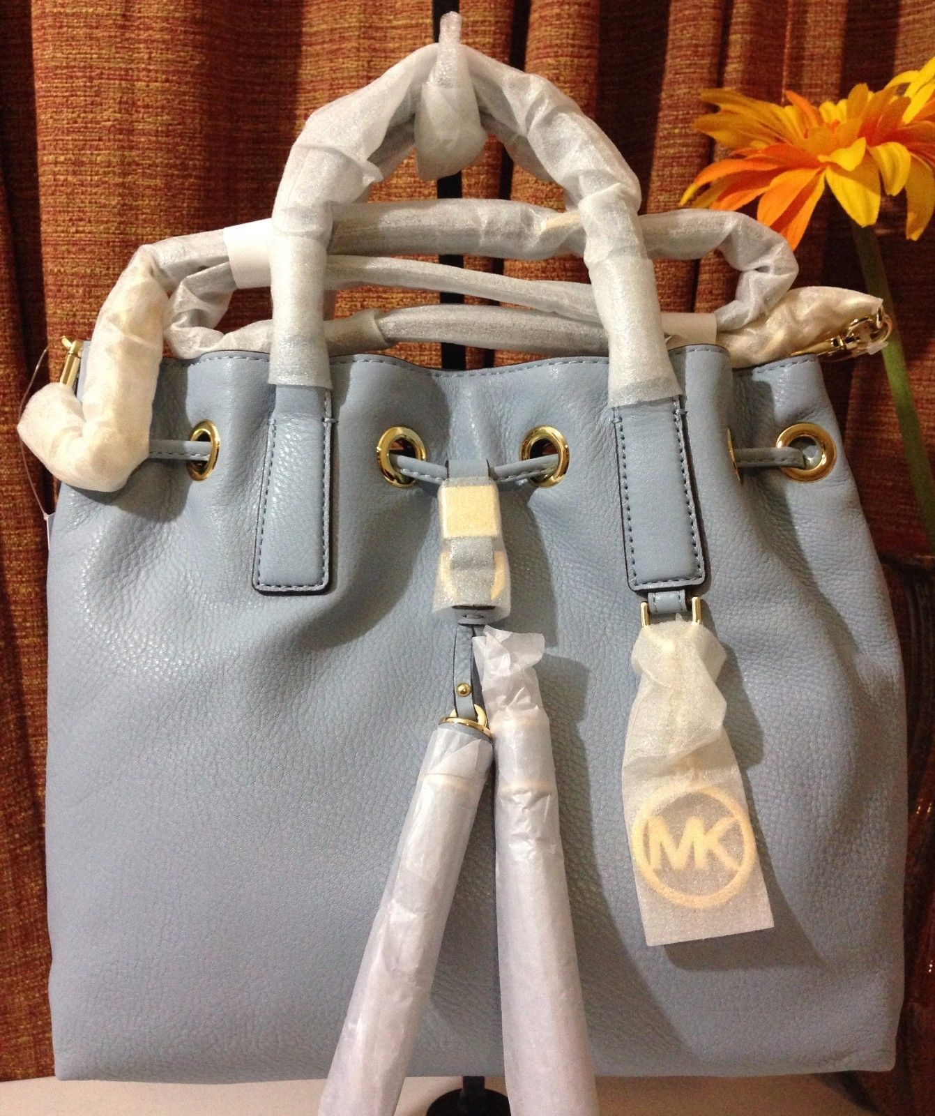 NWT MICHAEL MICHAEL KORS Camden Medium Leather Drawstring Satchel Pale Blue $358