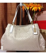 NWT COACH MADISON OP ART PEARLESCENT FABRIC CAFE CARRYALL LIKH1 F30681 M... - $289.00