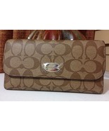 NWT Coach Signature PVC Checkbook Wallet F52681 IM/Khaki/Saddle MSRP $250 - $139.99