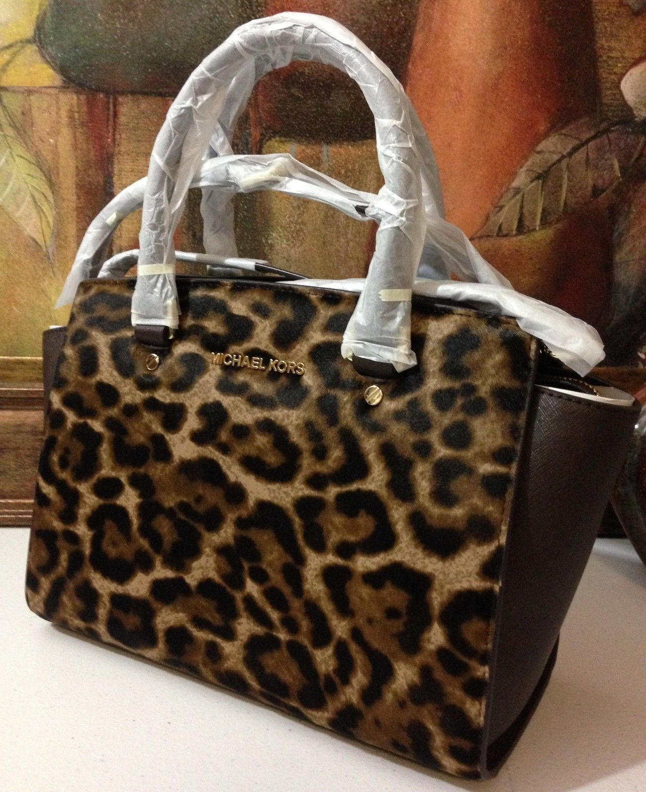 NWT Michael Kors Selma Medium Top Zip Satchel Haircalf Leopard MSRP $398