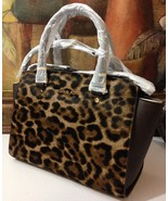 NWT Michael Kors Selma Medium Top Zip Satchel Haircalf Leopard MSRP $398 - $312.55