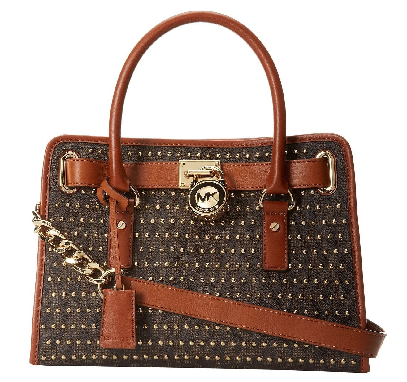 NWT Michael Kors Hamilton Studded East West MK Signature PVC Satchel MSRP $398