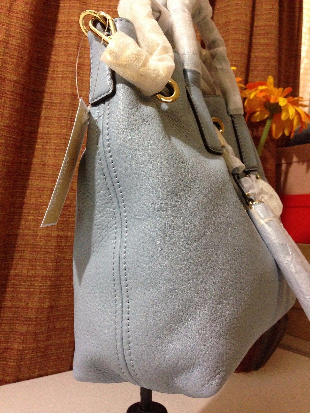 NWT MICHAEL MICHAEL KORS Camden Medium Leather Drawstring Satchel Pale Blue $358
