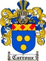 Primary image for Carroux Family Crest / Coat of Arms JPG or PDF Image Download