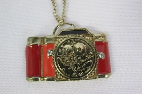 Women Long Gold Metal Chains Necklace Old Fashion Collector Camera Red Orange