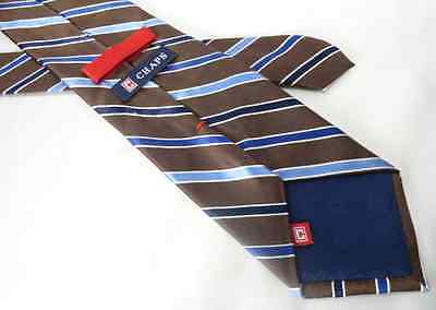 Chaps Ralph Lauren Mens Silk Necktie Brown Blue Striped Handmade Classic 59""
