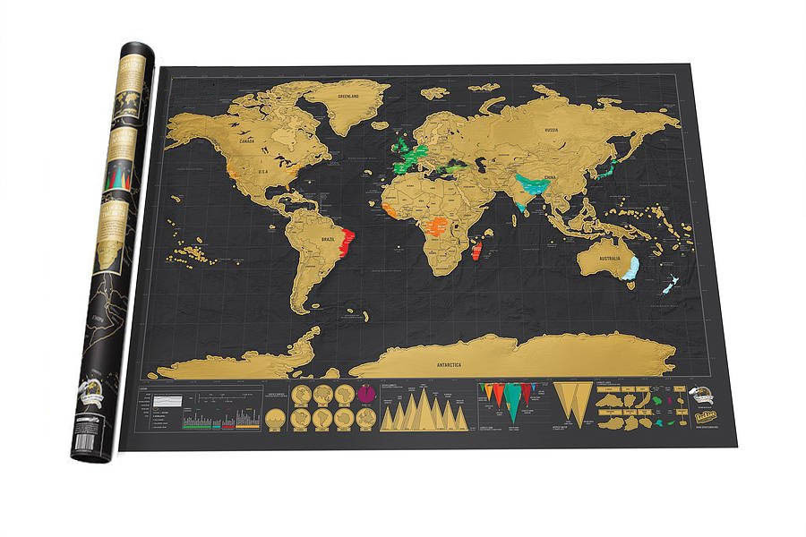 Deluxe Scratch World Map Greative Holiday Travel Gifts 82.5x59.5cm Love In Globe