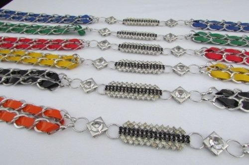Women Belt Fashion Silver Chain Hip High Waist Thin Black Blue Red Orange Yellow