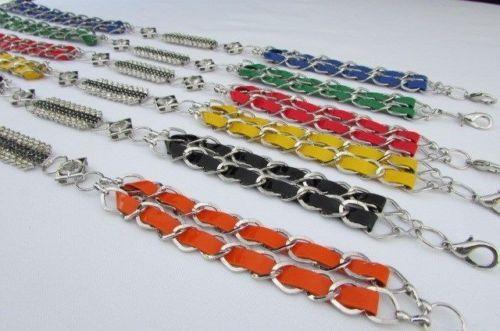 Women Belt Fashion Silver Chain Hip High Waist Thin Black Blue Red Orange Yellow