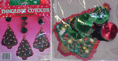 1989 Beistle 9' Christmas Banner & Dangling Cutouts & Merry Christmas Banner