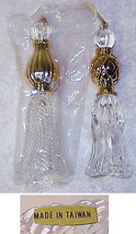 4  Vintage Gold & Clear Plastic/Crystalline  Christmas Ornaments NIB - $8.79