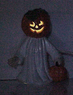 "Ceramic Halloween Lighted PUMPKIN-HEAD GHOST 7-1/2"" Tall"