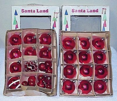 Primary image for Lot of Vintage Red Glass Christmas Ornaments mostly Poland