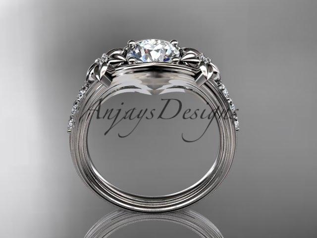 Platinum  diamond leaf and vine, floral diamond engagement ring ADLR333