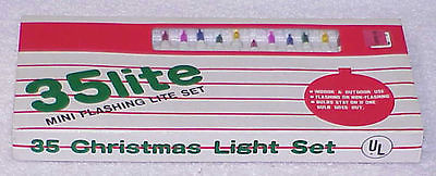 Vtg Christmas Lights - 35 Lite Mini Flashing Set NIB - Old Stock #1 - Taiwan