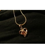 STUNNING GP HEART AUSTRIAN PEACH TOPAZ  NECKLACE - $45.00