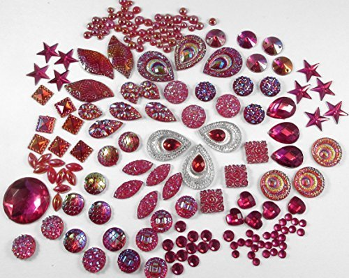 400 Pcs of Assorted Hot Pink Pearl Finish, Irridescent Flat Back Tear Drop Be...