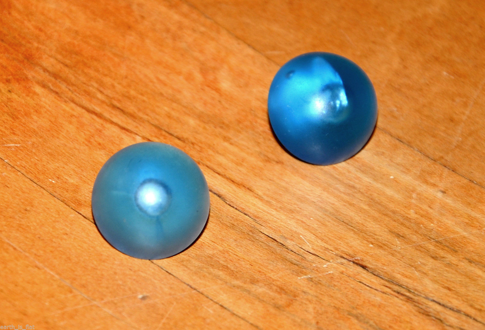 vintage round pierced earrings translucent bright electric blue