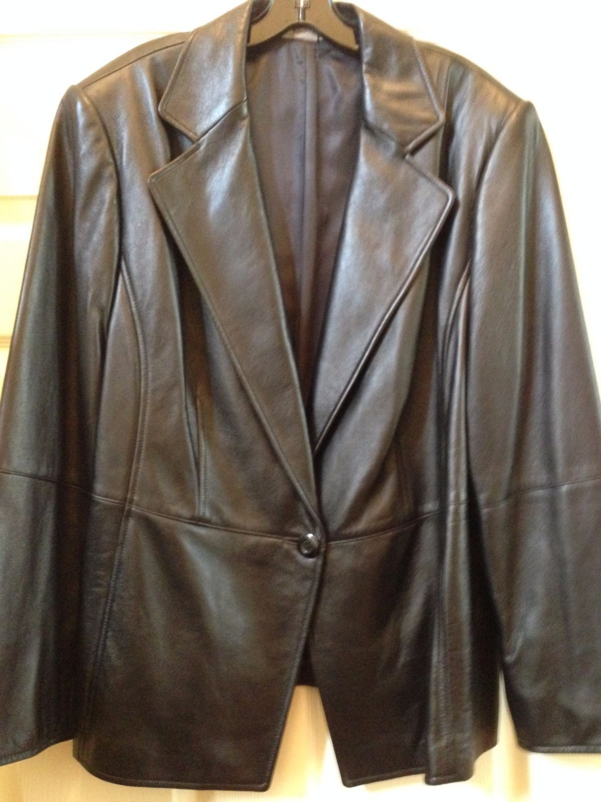Primary image for Jacket Blazer Ellen Tracy Black Genuine Leather size 20