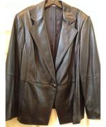 Jacket Blazer Ellen Tracy Black Genuine Leather size 20 - $178.20