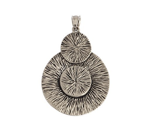 Silver Pendant Circle Chunky Geometric Vintage Rhodium Plated Women Unique Gift