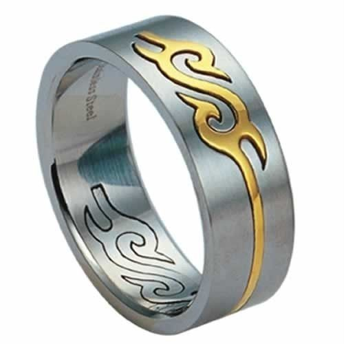 Stainless steel Band Ring W/ Gold PVD 8M Wide Size 6