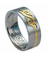 Stainless steel Band Ring W/ Gold PVD 8M Wide Size 6 - $9.85