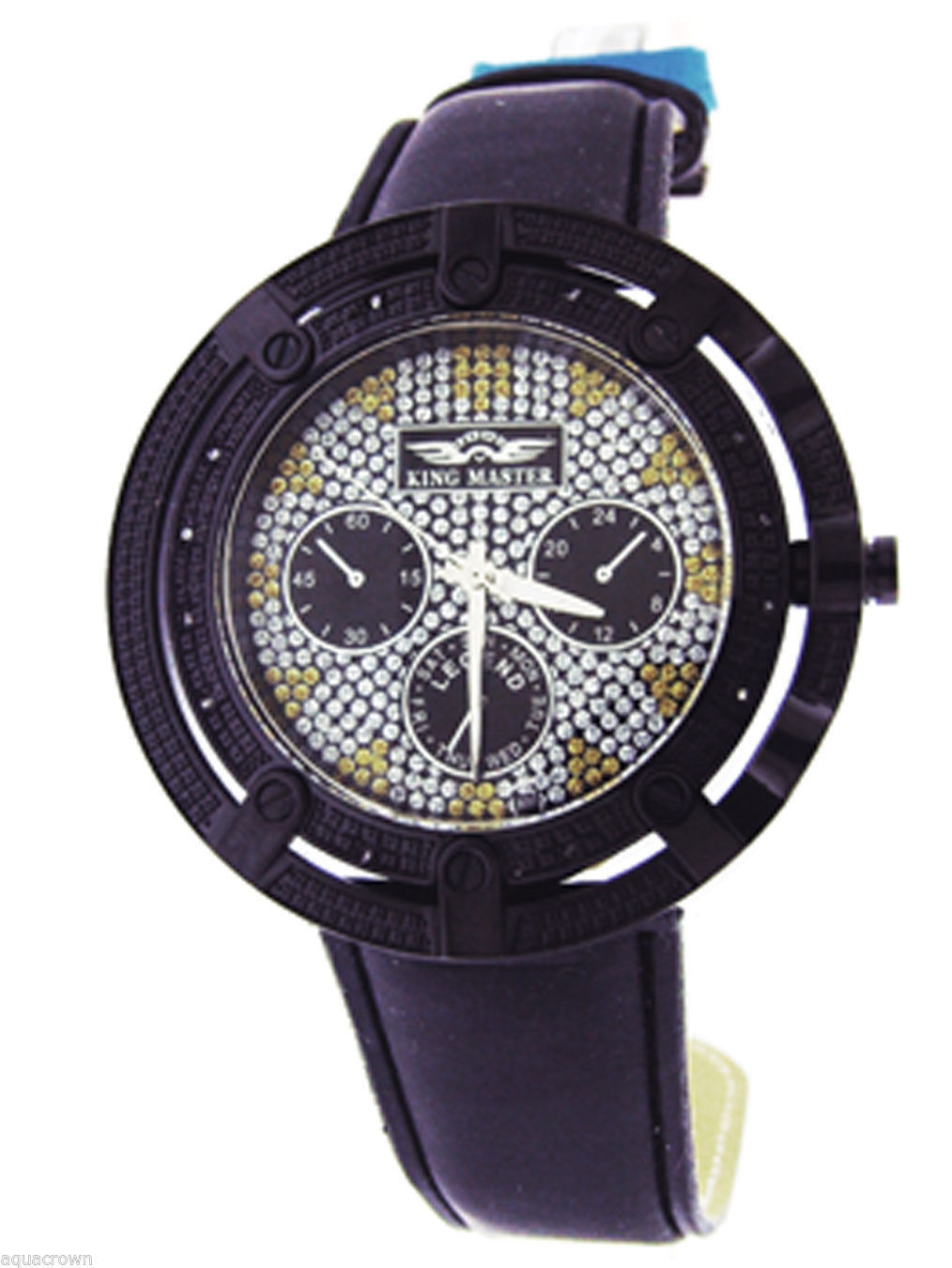 King Master Round 12 Diamonds 50MM Black Case Watch