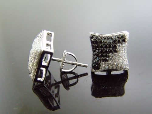 925 Sterling Silver Square Hoop Black & White CZ Earrings 10mm Wide