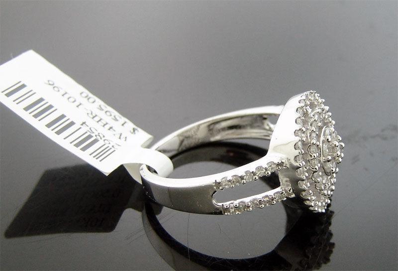 NEW LADIES 10K WHITE GOLD 0.50CT WHITE DIAMONDS RING 3.6GRM SIZE 7