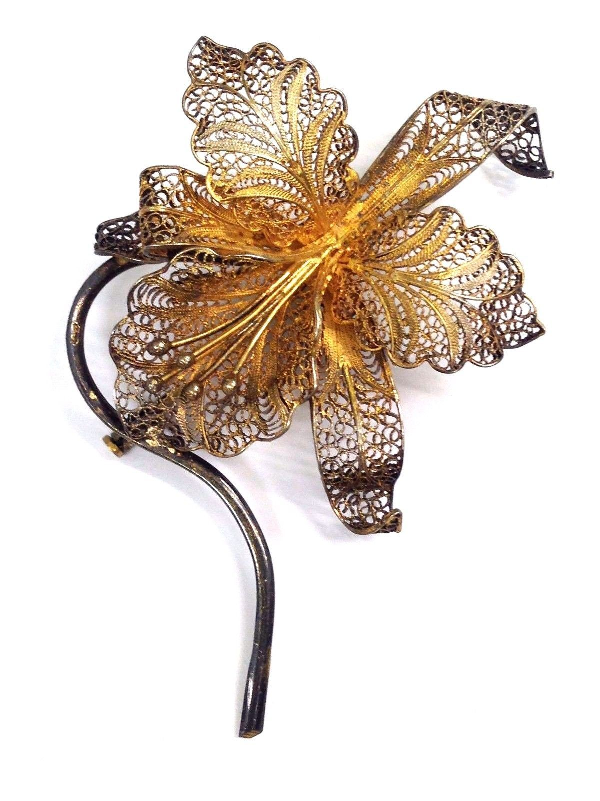 VINTAGE STERLING SILVER VERMEIL FILIGREE ORCHID PIN 925