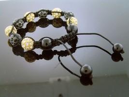 Big Bead Black & Yellow gold Color CZ  Bracelet 12MM - $19.79