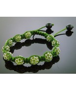 New shambahalla Unisex Green Color Bead CZ  Bracelet 10MM 9Inch - $19.79