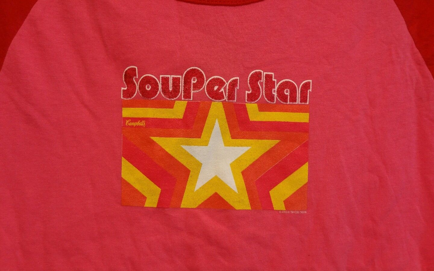 New Campbell's Soup Souper Star Logo Juniors Size Large T-shirt Chicken Soup
