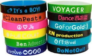 20 COLOR TEXT CUSTOM SILICONE WRISTBANDS +FAST SHIPPING
