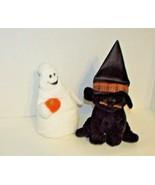 Ty Pluffies Halloween lot Shudder Ghost pumpkin Merlin Black Cat witch h... - $12.86