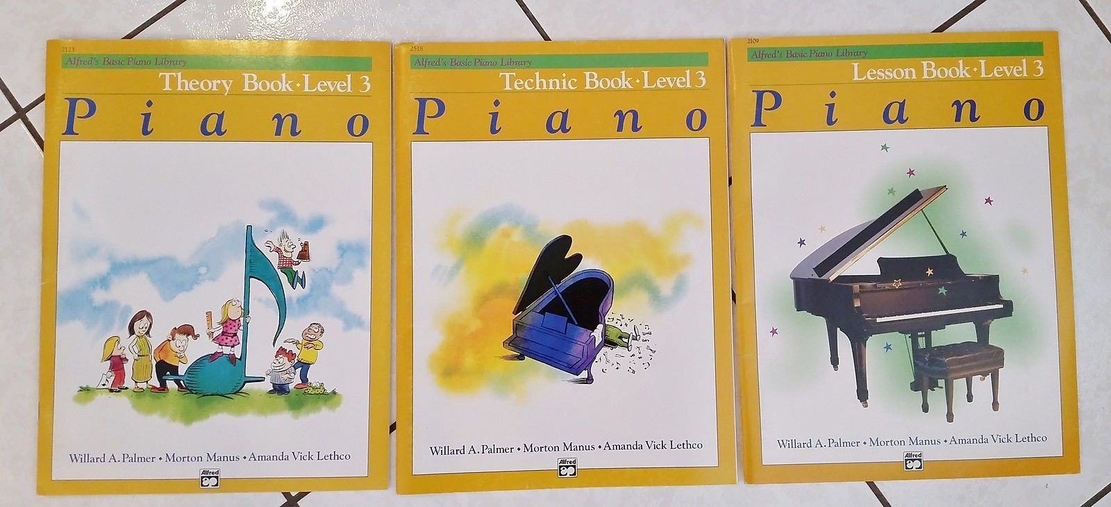 3 Alfred's Basic Piano Library Books Level 3 Theory, Technic & Lesson New/VGUC