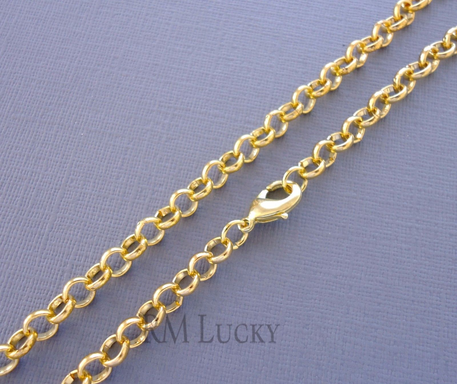 4mm 6mm Gold color Rolo Link Chain Necklace Men's Women's Kids Lobster claw