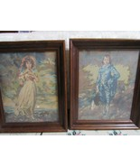 VTG Blue Boy and Pinkie Paint By Number Paintings Art Framed Retro - $29.78