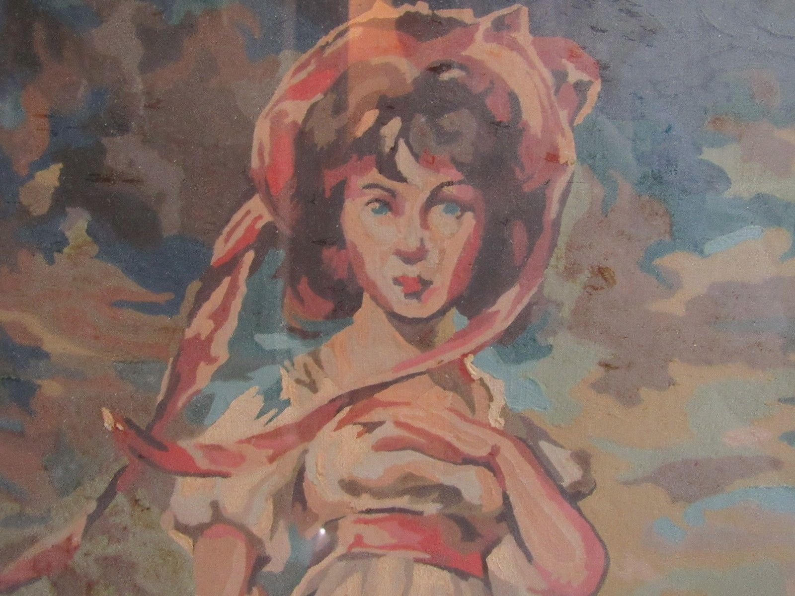 VTG Blue Boy and Pinkie Paint By Number Paintings Art Framed Retro